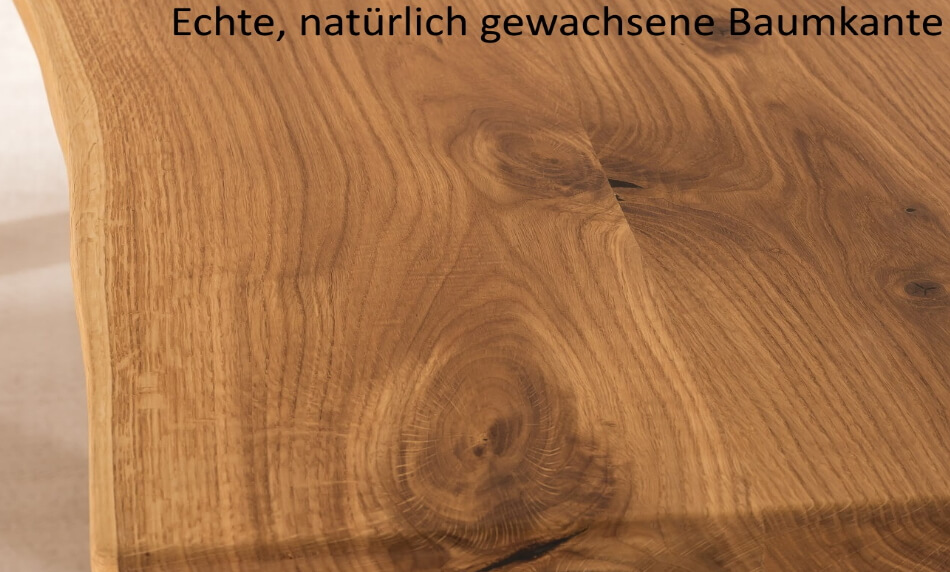 Kattwinkel Kaffeetisch F4 Massivholz Baumkante